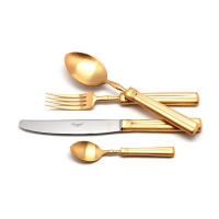 Cutipol Набор столовых приборов Fontainebleau Gold на 12 персон 130 пр. нержавеющая сталь золотистый матовая полировка  (9162-130)