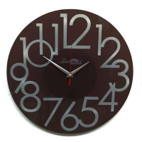 Династия Настенные кварцевые коричневые круглые часы из стекла (01-081)