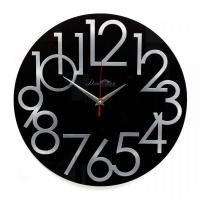 Династия Настенные кварцевые черные круглые часы из стекла (01-084)