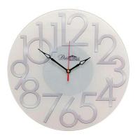 Династия Настенные кварцевые бежевые круглые часы из стекла (01-085)