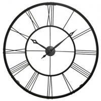 Династия Большие настенные кварцевые черные часы металлические Гигант (07-001)