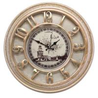 Galaxy Настенные кварцевые розово-бежевые с золотой патиной круглые часы (1965-P)