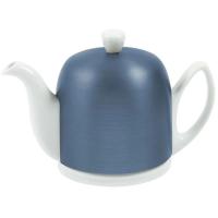 GUY DEGRENNE Белый чайник на 6 чашек, 0,9 л, Синяя алюминиевая крышка, черный фетр White (225359)