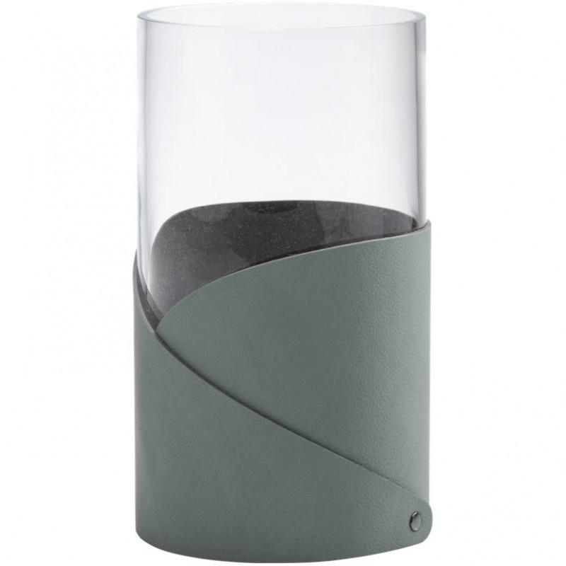 LIND DNA Стеклянная ваза для цветов с кожаной отделкой (983674)