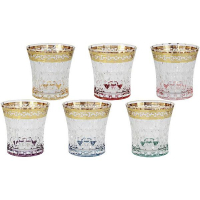 Same Набор стеклянных стаканов для виски 6 пр. золото Цветная Флоренция (SM3177_678-AL)