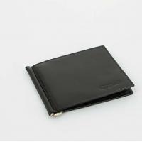 S.Quire Портмоне с клипом для денег, черное, гладкое (5700-BK VT)