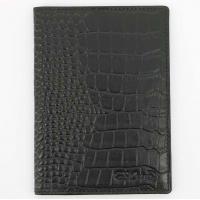 S.Quire Обложка для паспорта черная, фактурная (6400-BK CROCO)