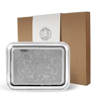 Кольчугинский мельхиор Поднос прямоугольный с гравированным рисунком никелированный (С79508)